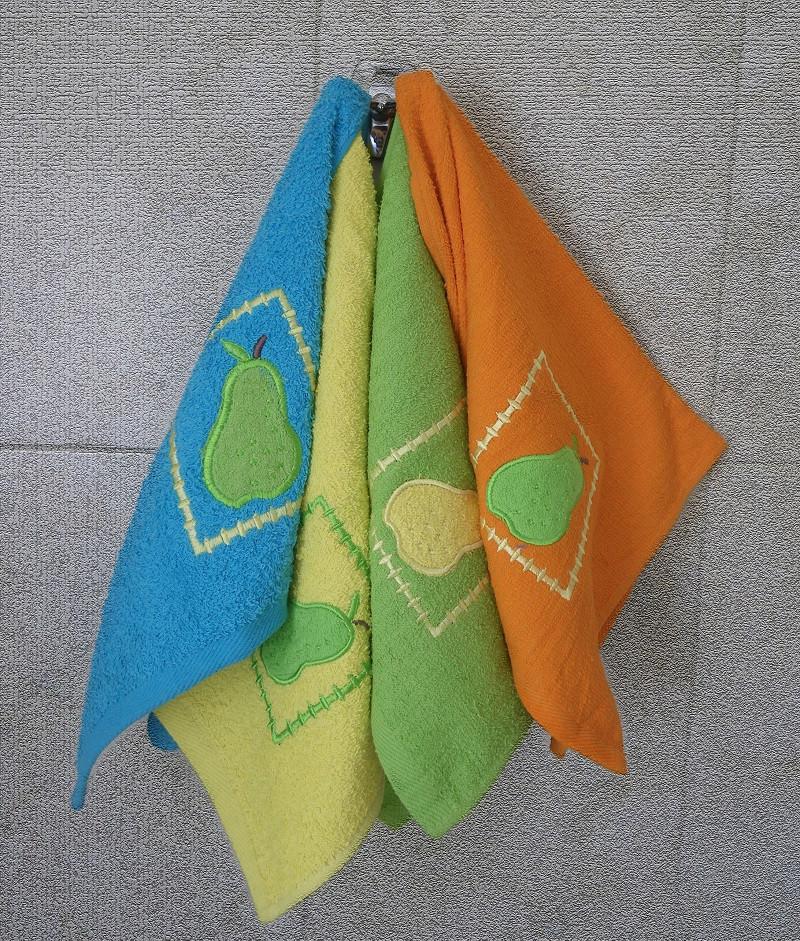 Βαμβακερή πετσέτα 40χ60 με κέντημα σε 4 χρώματα-Κίτρινο