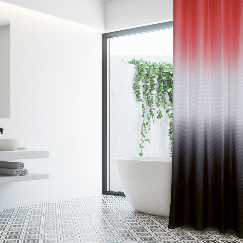 Κουρτίνα Μπάνιου 180×200 Das Home Bath Curtains 1080 Κοραλι-Λευκο-Γκρι