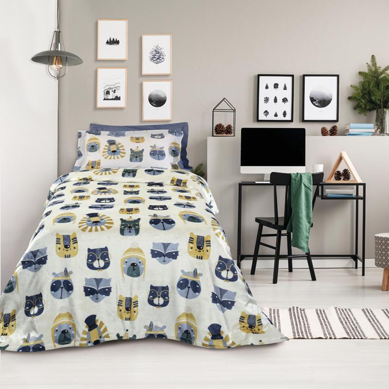 Κουβέρτα Fleece Μονή 160×220 Das Home Kid 4708 Γκρι-Ωχρα