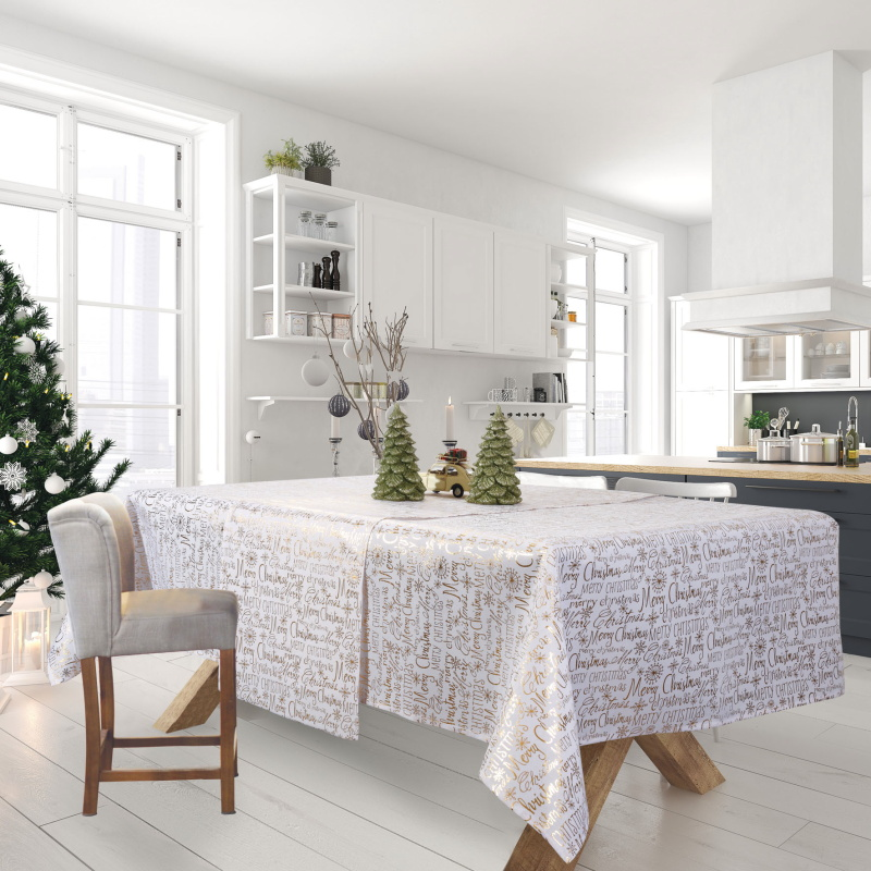 Χριστουγεννιάτικο Τραπεζομάντηλο 140×220 Das Home Christmas 0575 Εκρου-Χρυσο