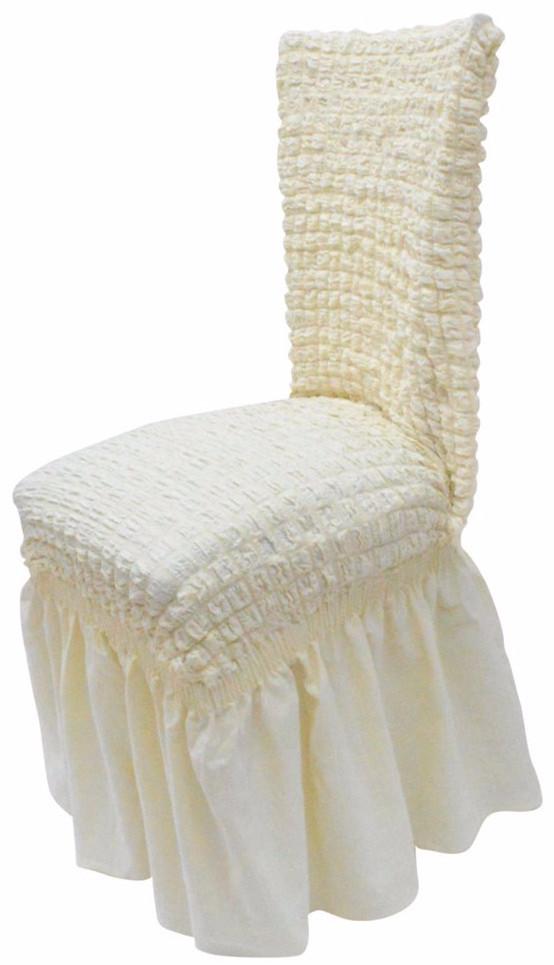 Ελαστικό κάλυμμα καρέκλας 70% Βαμβάκι-30% Λύκρα (Ανά τεμάχιο)-Εκρου καλύμματα επίπλων καλύμματα καρέκλας