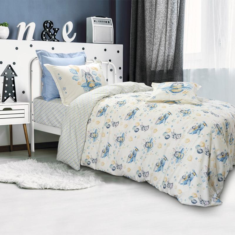 Σεντόνια Μονά (Σετ) 170X260 Das Home Kid 4717 Γαλάζιο Χωρίς Λάστιχο