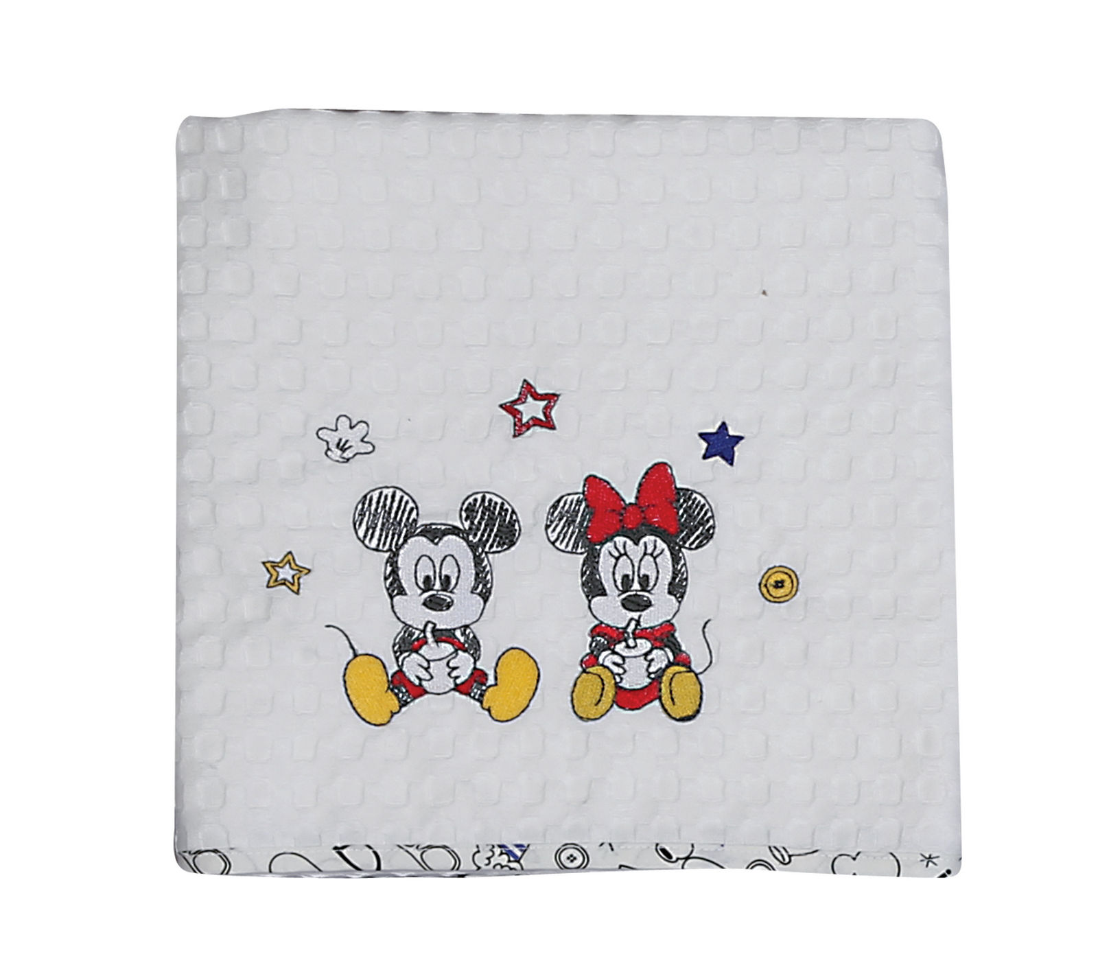 Κουβέρτα Πικέ Λίκνου 80×110 Nef Nef Mickey Best Friends Λευκό