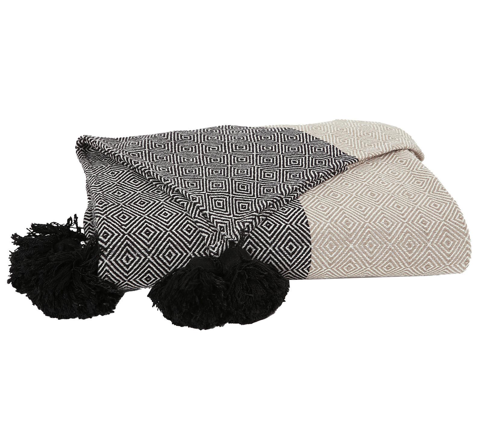 Ριχτάρι Πολυθρόνας 180×180 Nef Nef Νηματοβαφη Βαμβακι Diamond Beige/Black