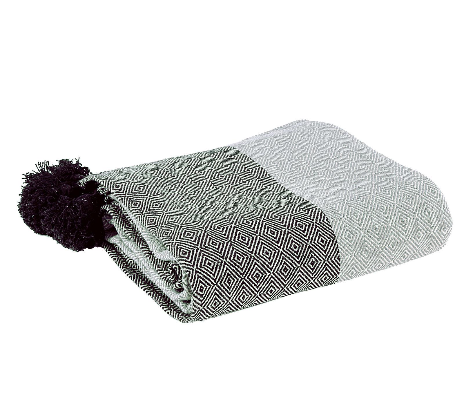 Ριχτάρι Τριθέσιου 180×300 Nef Nef Νηματοβαφη Βαμβακι Diamond Grey/Black