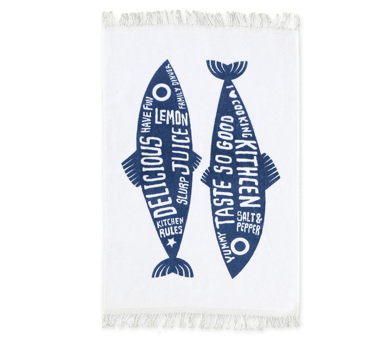 Ποτηρόπανο Βελουτέ 40×60 Nef Nef Trendy Fish Blue