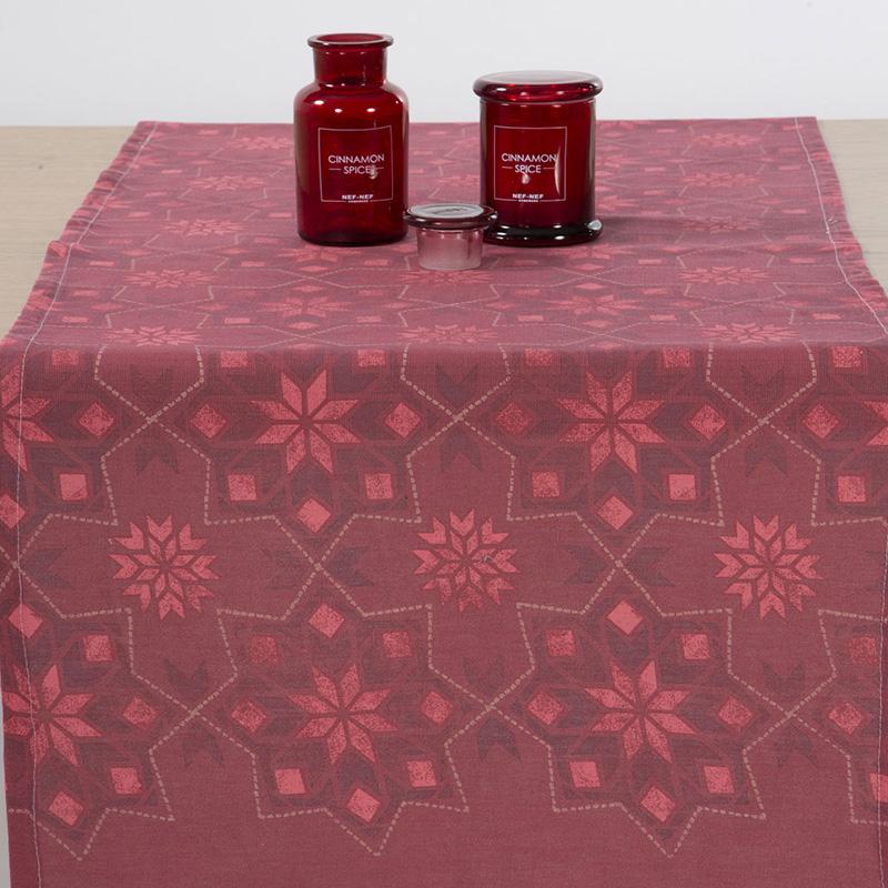 Χριστουγεννιάτικη Τραβέρσα 45x140 Nef Nef Half Panama Christmas Spirit Red (45x140)