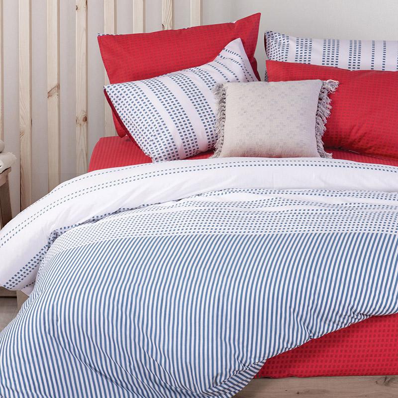 Σεντόνια Μονά (Σετ) 170×270 Nef Nef Smart Line Keneth Blue-Red Χωρίς Λάστιχο