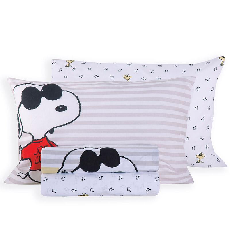 Σεντόνια Μονά (Σετ) 160×260 Nef Nef Snoopy Rockstar White Χωρίς Λάστιχο