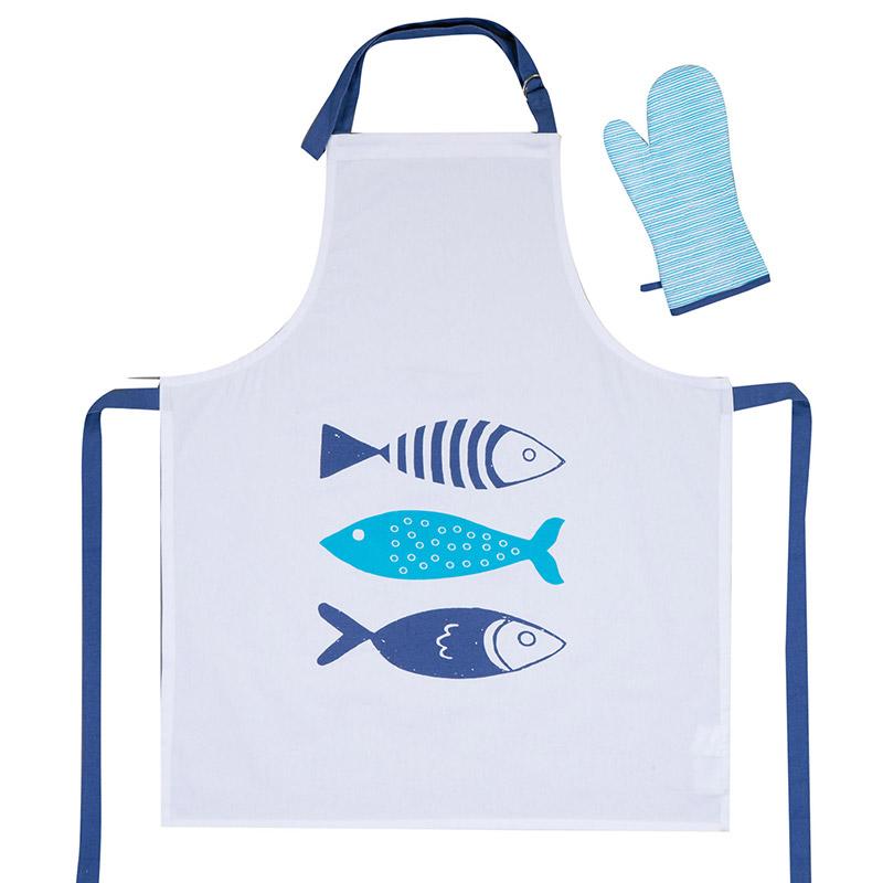 Σετ Κουζίνας (2 Τμχ) Nef Nef Blue Fishes Way White
