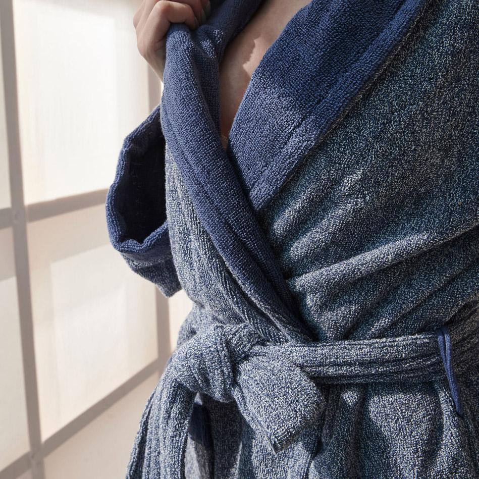Μπουρνούζι Με Γιακά S/M Palamaiki Bathrobe Collection Belagio Blue