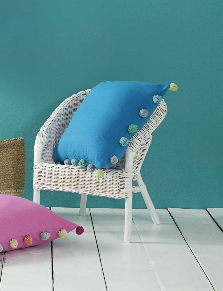 Διακοσμητική Μαξιλαροθήκη 45×45 Pom Pom Nima – Funky Blue