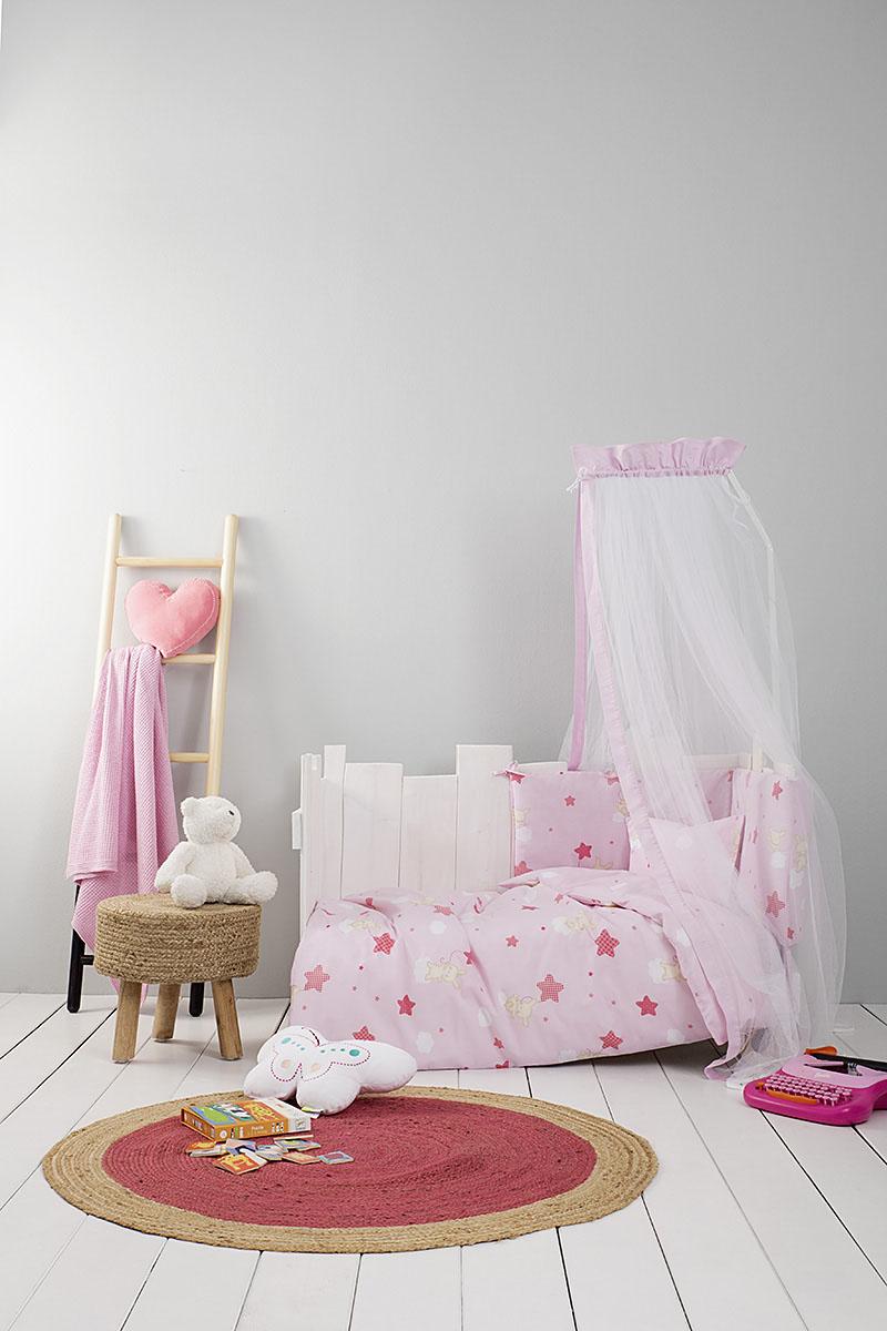Σεντόνια Κούνιας (Σετ) Nima – Baby Star Pink