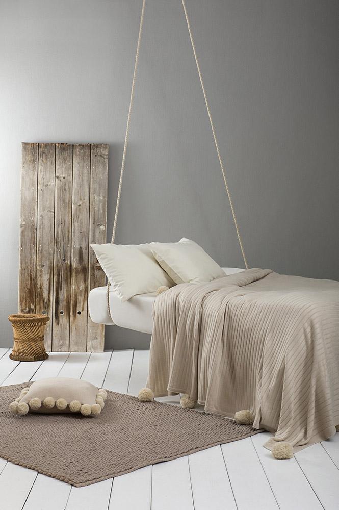 Κουβέρτα Μονή Πλεκτή 150×220 Nima – Snug Beige
