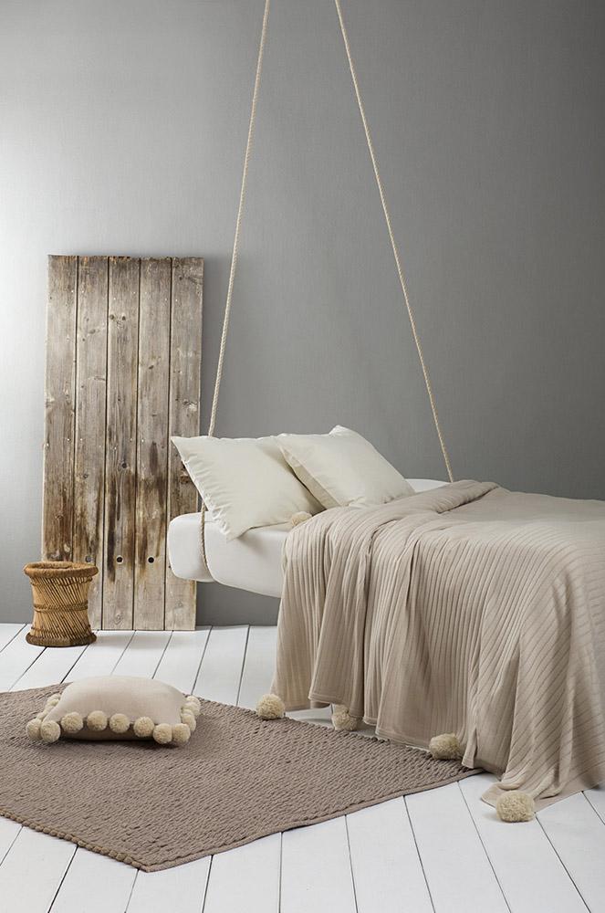 Κουβέρτα Υπέρδιπλη Πλεκτή 220×240 Nima – Snug Beige