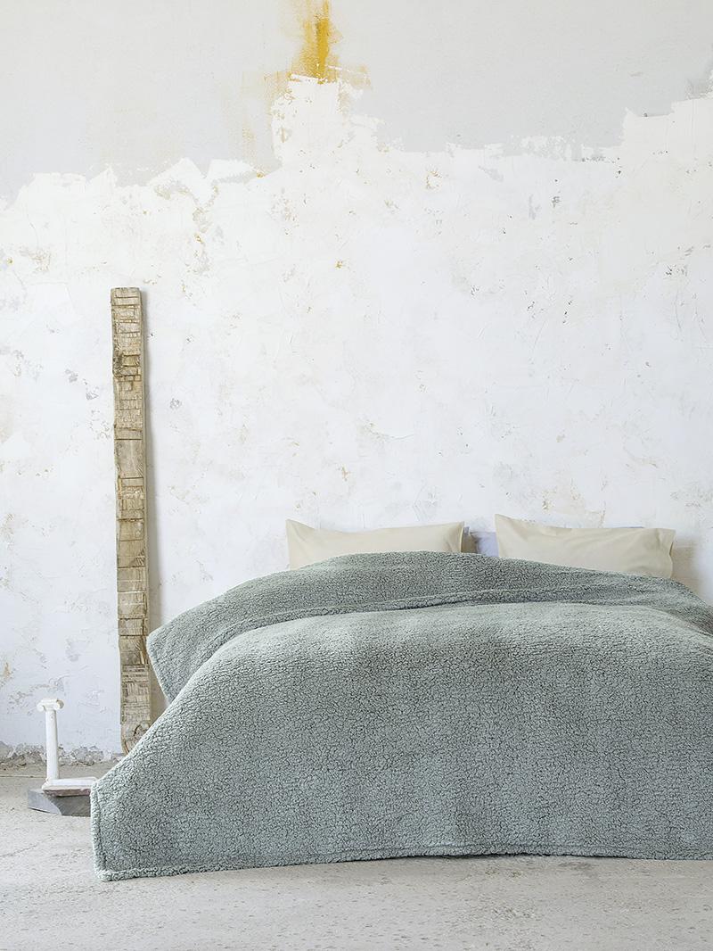 Κουβέρτα Βελουτέ Μονή 150×220 Nima Manta Dark Mint