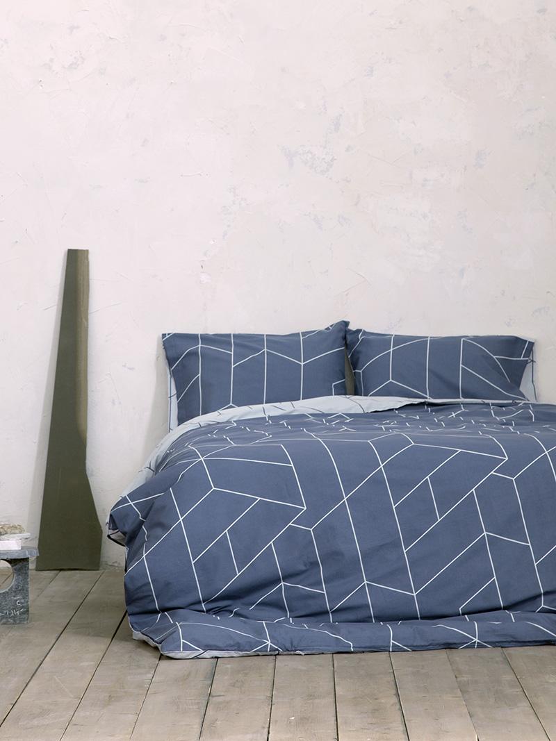 Σεντόνια Μονά (Σετ) 100×200+32 Nima Parity Blue Με λάστιχο