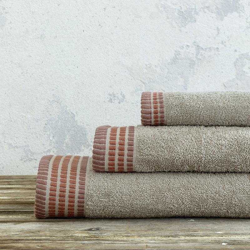 Πετσέτες Μπάνιου (Σετ 3 Τμχ) Nima Siren Camel Beige