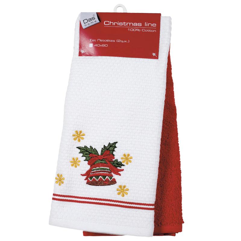 Πετσέτες Κουζίνας (Σετ 3 Τμχ) 40×60 Das Home Christmas 0585 Κοκκινο-Λευκο
