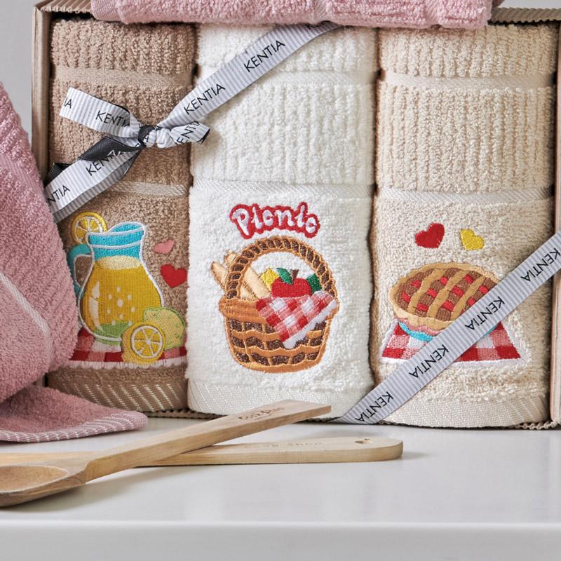Πετσέτες Κουζίνας (Σετ 3 Τμχ) Kentia Loft Regalo 181 Μπεζ