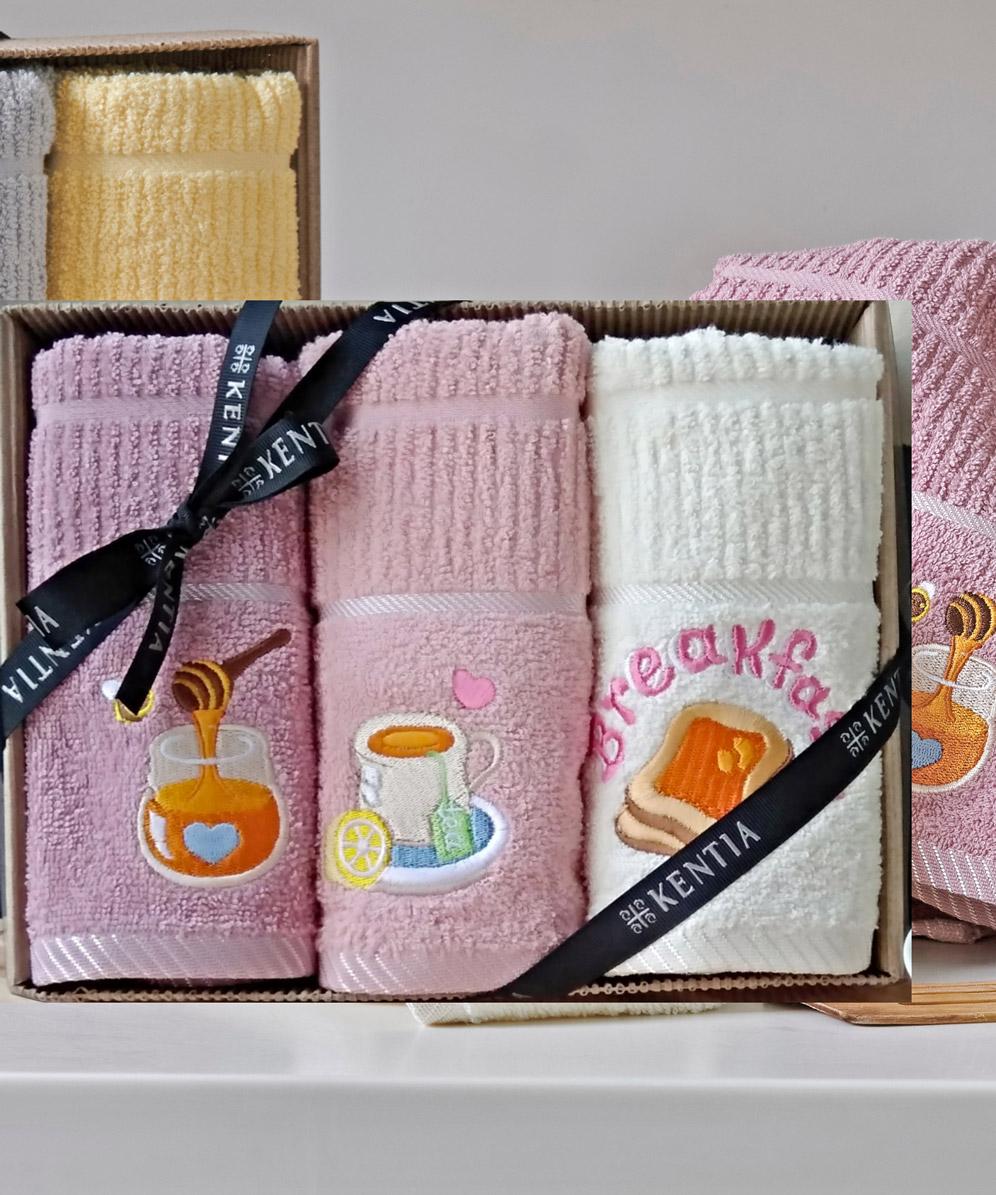 Πετσέτες Κουζίνας (Σετ 3 Τμχ) Kentia Loft Regalo 182 Ροζ