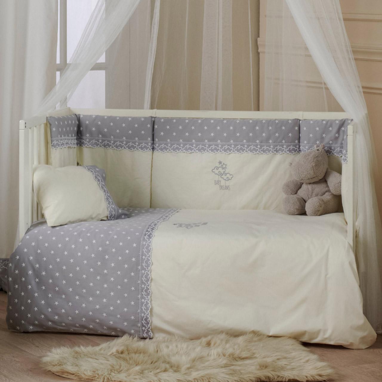 Παπλωματοθήκη Κούνιας (Σετ) 100X140 Kentia Serenity Baby Dream Γκρι