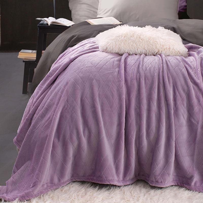 Κουβέρτα Fleece Υπέρδιπλη 220X240 Rythmos Sonic Μοβ (220x240)