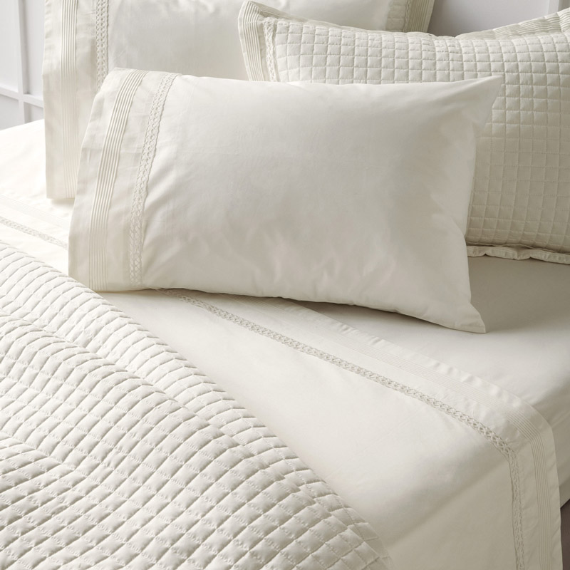 Σεντόνια Νυφικά Υπέρδιπλο 240X270 Kentia Serenity Bernadine 12 Λευκό Χωρίς Λάστιχο