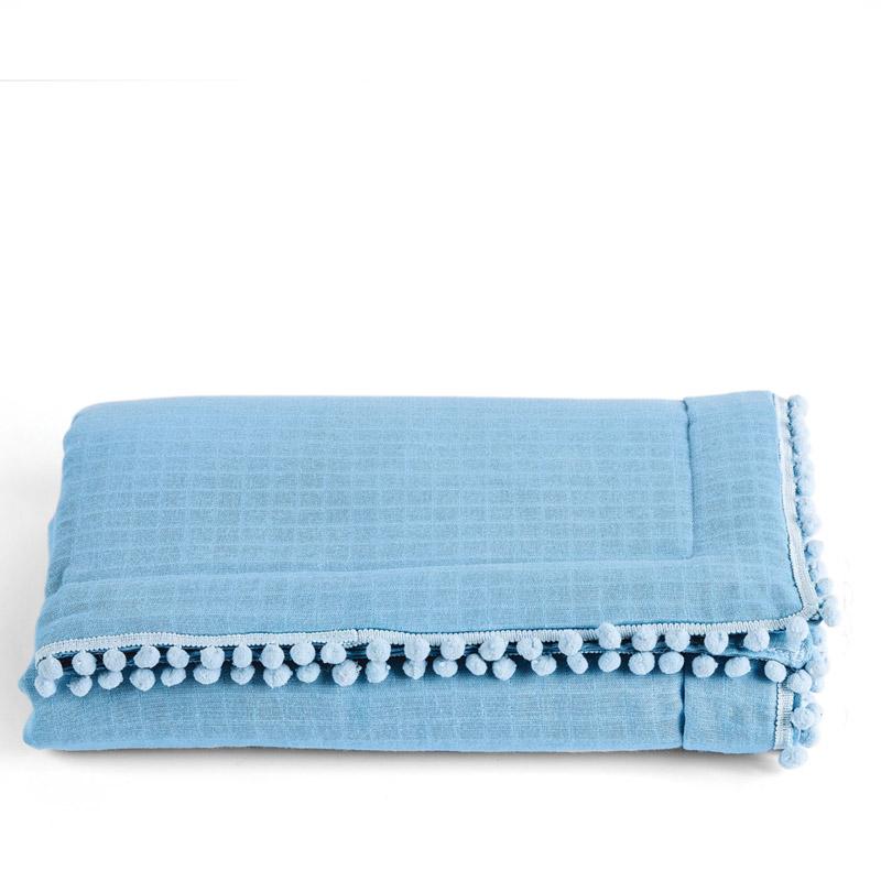 Κουβερτόριο Αγκαλιάς 70X100 Kentia Stylish Pon-Pon 19 Γαλάζιο