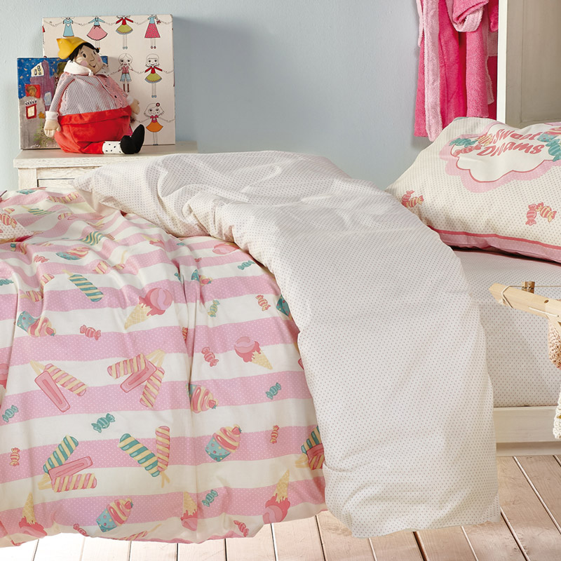 Παπλωματοθήκη Μονή (Σετ) 160X240 Kentia Loft Candybar Ροζ