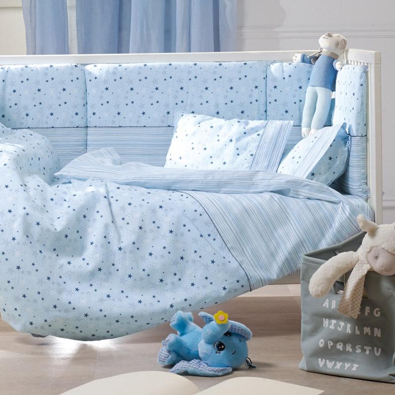 Σεντόνια Λίκνου (Σετ) 70X120 Kentia Loft Piccolo Μπλε Χωρίς Λάστιχο