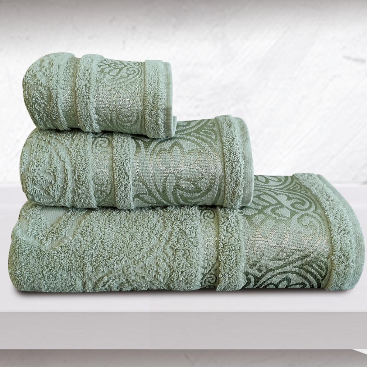 Πετσέτες Μπάνιου (Σετ 3 Τμχ) Sb Home Cronos Emerald