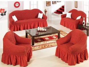 Ελαστικό κάλυμμα καναπέ 70% βαμβάκι 30% λύκρα σετ 3 τεμάχια Αίθριο-Κεραμιδί-6+ Χ καλύμματα επίπλων καλύμματα καναπέ σαλονιού   πολυθρόνας καλύμματα επίπλων καλύμ
