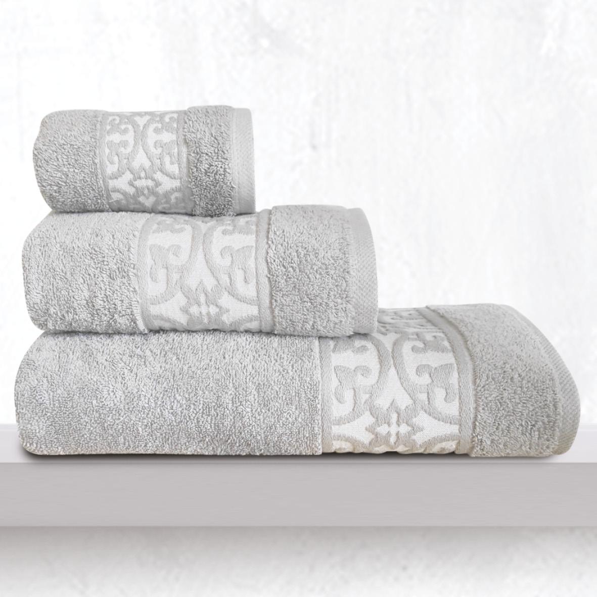 Πετσέτες Μπάνιου (Σετ 3 Τμχ) Sb Home Zenith Silver