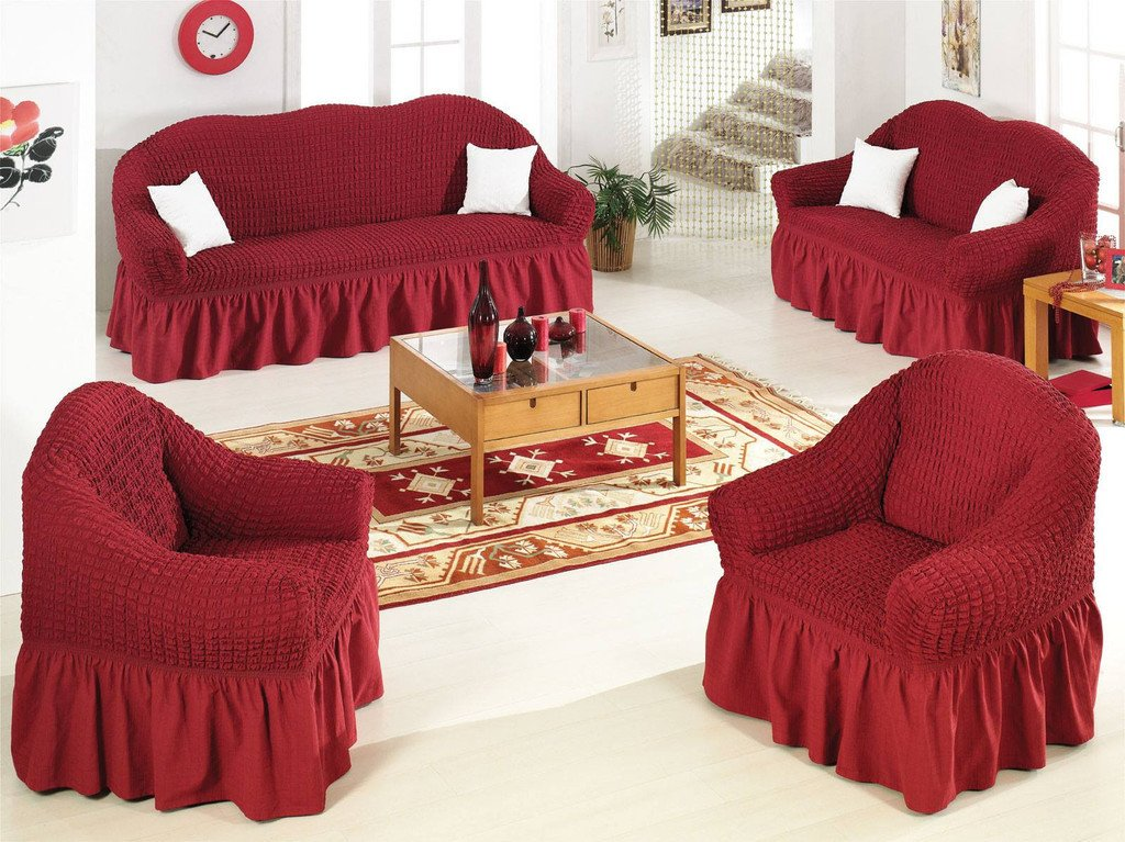 Ελαστικό κάλυμμα καναπέ 70% βαμβάκι 30% λύκρα σετ 3 τεμάχια Αίθριο-Μπορντώ-6+ Χρ καλύμματα επίπλων καλύμματα καναπέ σαλονιού   πολυθρόνας καλύμματα επίπλων καλύμ
