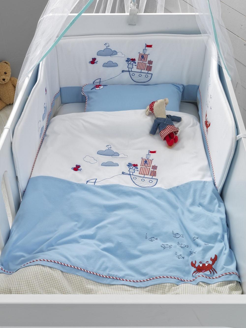 Βρεφικό Σετ Κρεβατιού (5 Τμχ) Brave Pirates Palamaiki Baby Comfort in A Box λευκά είδη βρεφικά σετ κούνιας