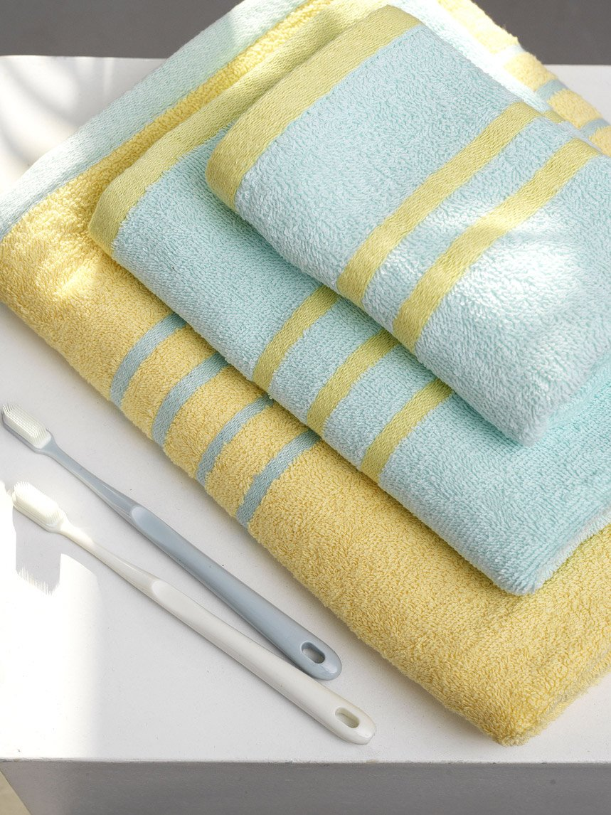 Πετσέτες Μπάνιου (Σετ 3 Τμχ) Palamaiki Towels Collection Contrast Yellow/Ciel