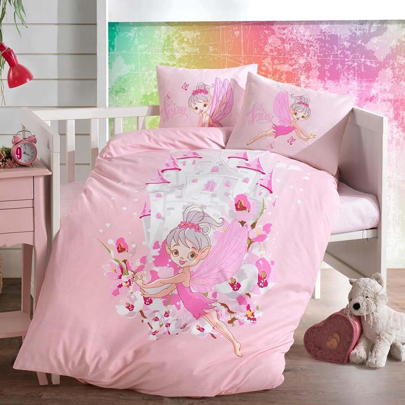 Σεντόνια Κούνιας (Σετ) 110×150 Sb Home Fairy Ροζ Χωρίς Λάστιχο