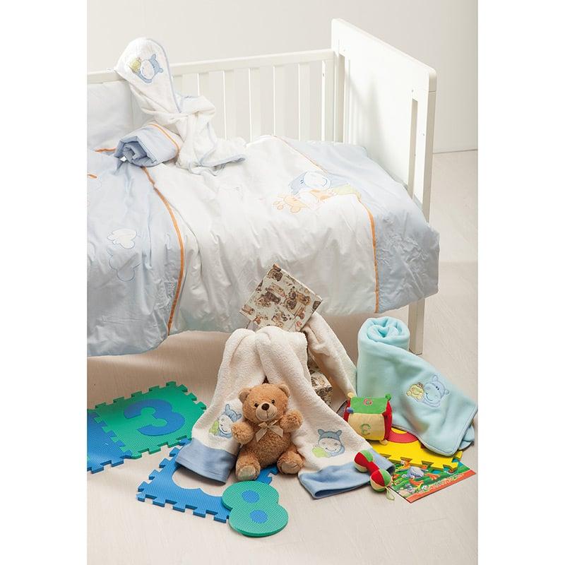 Πάπλωμα Κούνιας + Πάντα 110×140 Sb Home Hippo Γαλαζιο