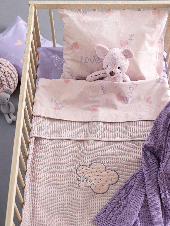 Κουβέρτα Πικέ Αγκαλιάς 80×110 Palamaiki Bebe Blankets Honey Lilac