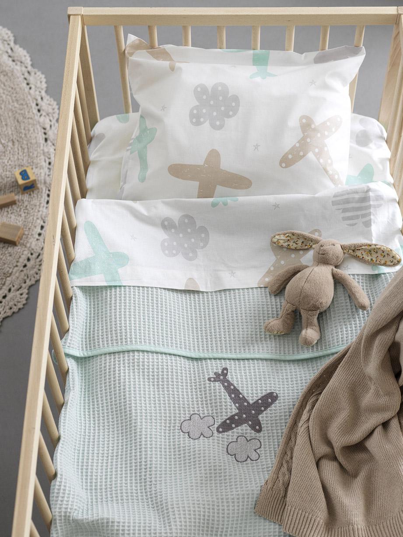 Κουβέρτα Πικέ Κούνιας 100×150 Palamaiki Bebe Blankets Honey Mint