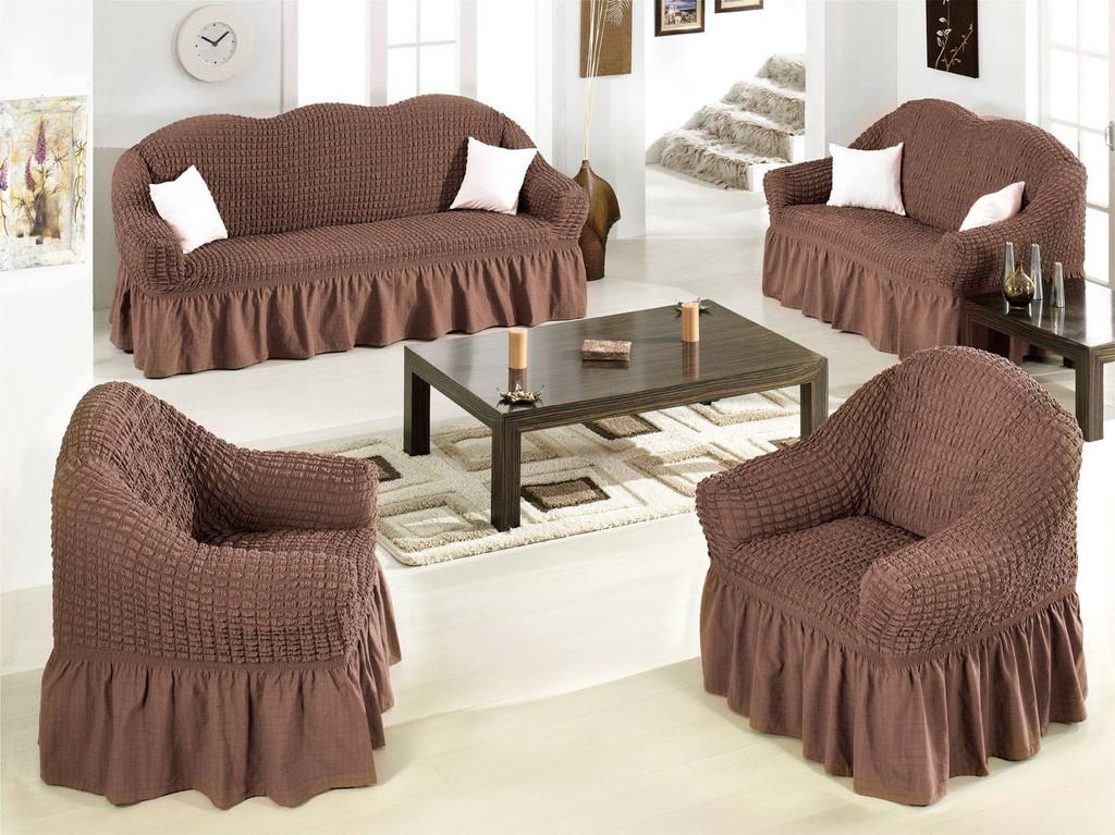 Ελαστικό κάλυμμα καναπέ 70% βαμβάκι 30% λύκρα σετ 3 τεμάχια Αίθριο-Καφέ-6+ Χρώμα καλύμματα επίπλων καλύμματα καναπέ σαλονιού   πολυθρόνας καλύμματα επίπλων καλύμ