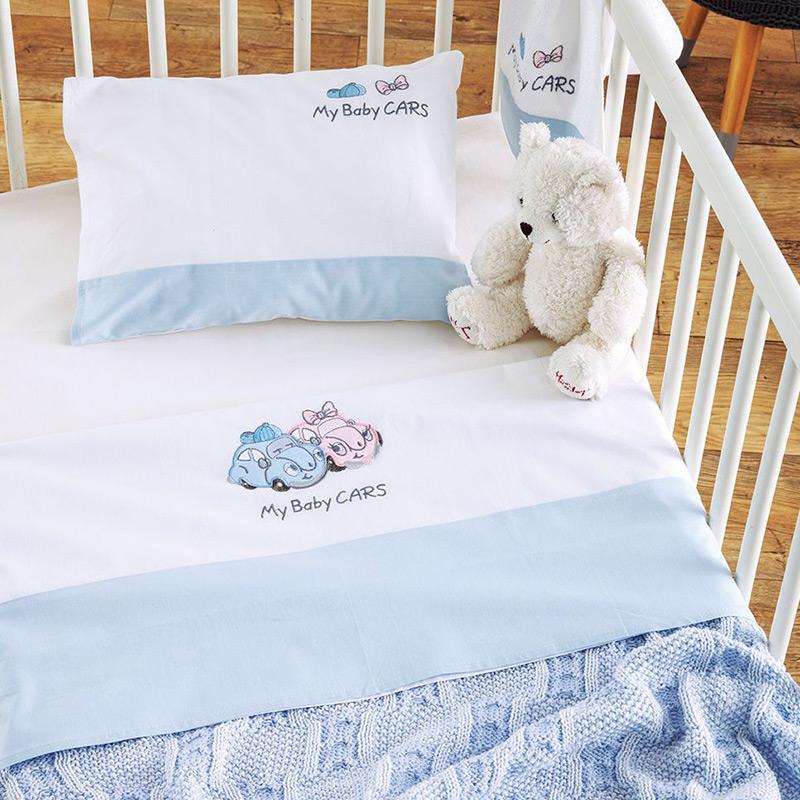 Σεντόνια Κούνιας (Σετ) 120×170 Sb Home My Baby Cars Blue Μπλε Χωρίς Λάστιχο