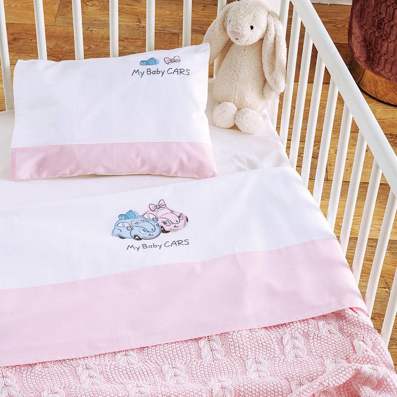 Σεντόνια Κούνιας (Σετ) 120×170 Sb Home My Baby Cars Pink Ροζ Χωρίς Λάστιχο