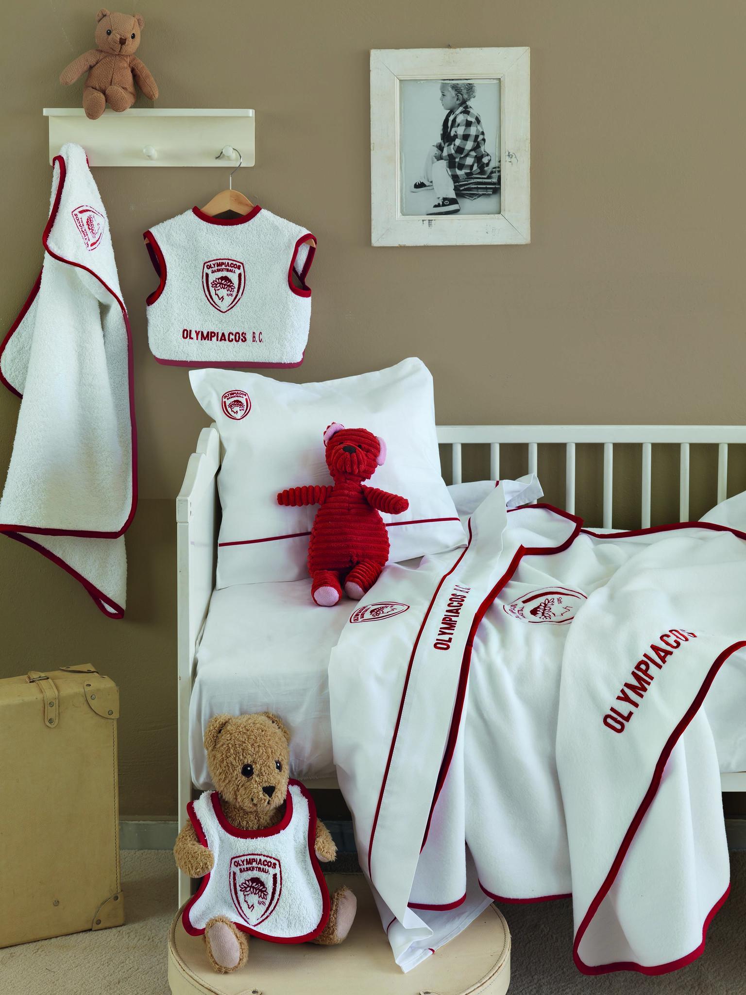 Σεντόνια (Σετ 3 Τμχ) Κούνιας 100% Bαμβάκι Palamaiki Olympiacos Baby Τeam-ΟΣΦΠ-Ολ σεντόνια βρεφικά  λευκά είδη ολυμπιακός