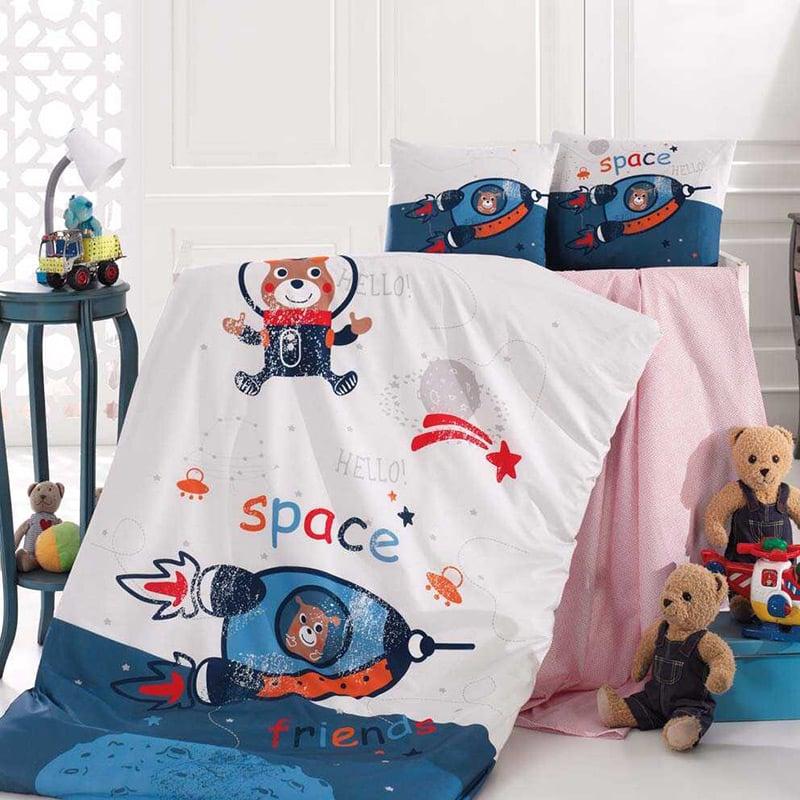 Σεντόνια Κούνιας (Σετ) 110×150 Sb Home Space Μπλε Χωρίς Λάστιχο