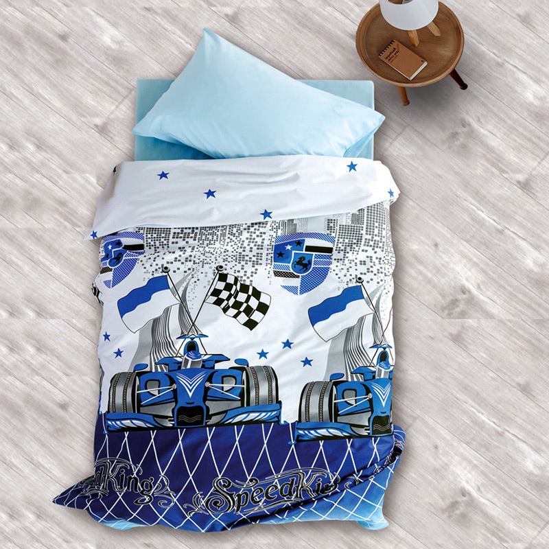 Σεντόνια Μονά (Σετ) 160×240 Sb Home Speed Blue Μπλε Χωρίς Λάστιχο