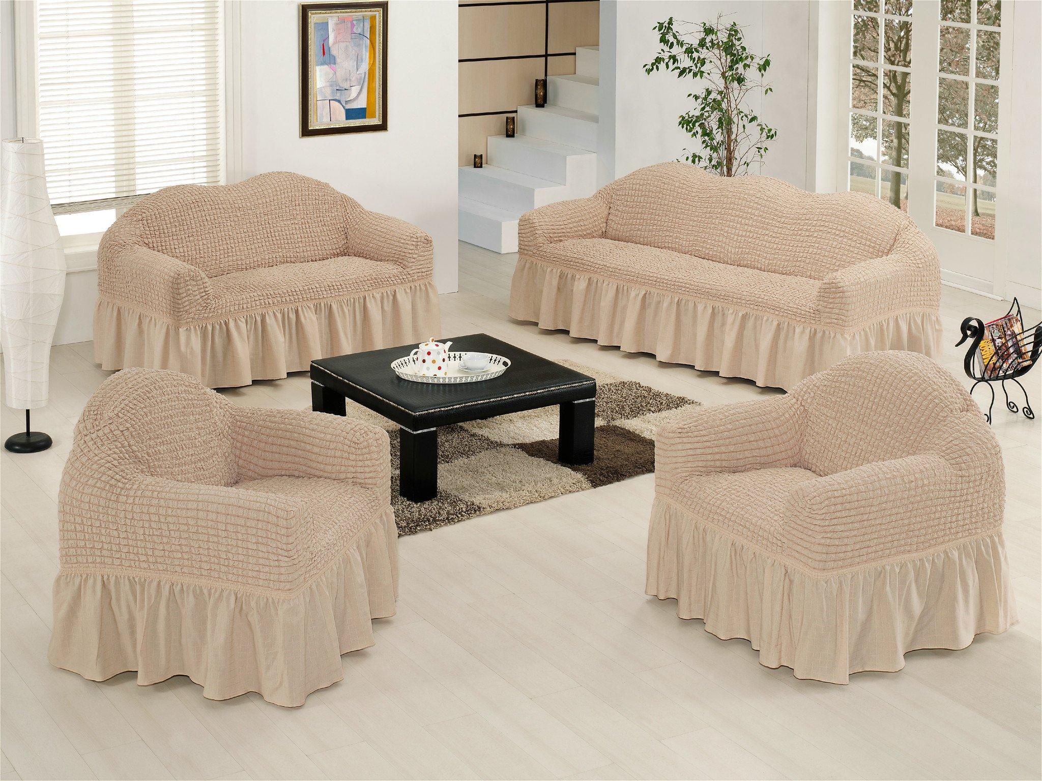 Ελαστικό κάλυμμα καναπέ 70% βαμβάκι 30% λύκρα σετ 3 τεμάχια Αίθριο-Εκρου-6+ Χρώμ καλύμματα επίπλων καλύμματα καναπέ σαλονιού   πολυθρόνας καλύμματα επίπλων καλύμ