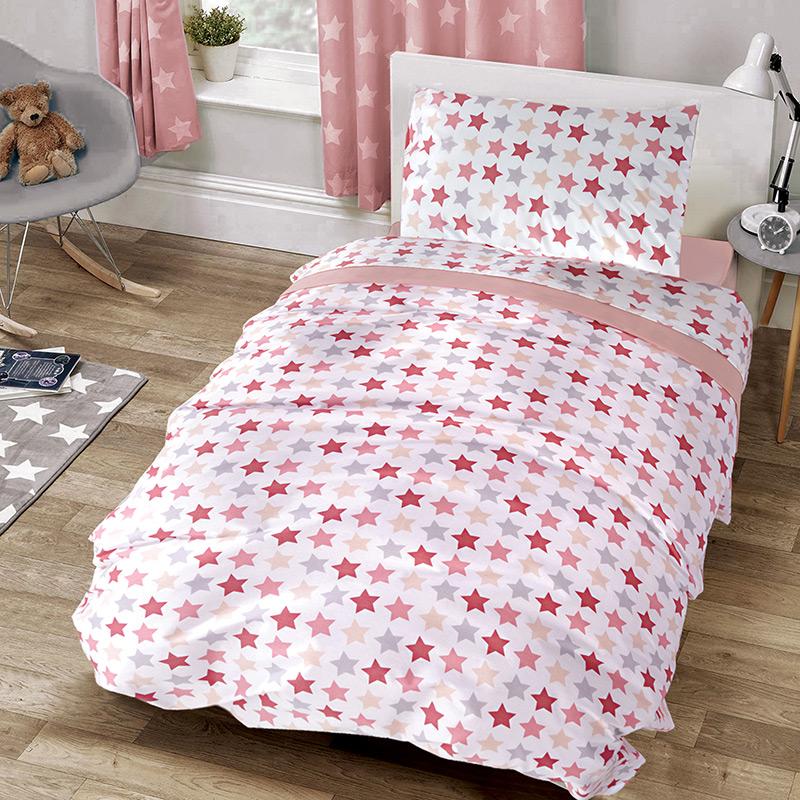 Σεντόνια Μονά (Σετ) 160×240 Sb Home Stars Pink Ροζ Χωρίς Λάστιχο