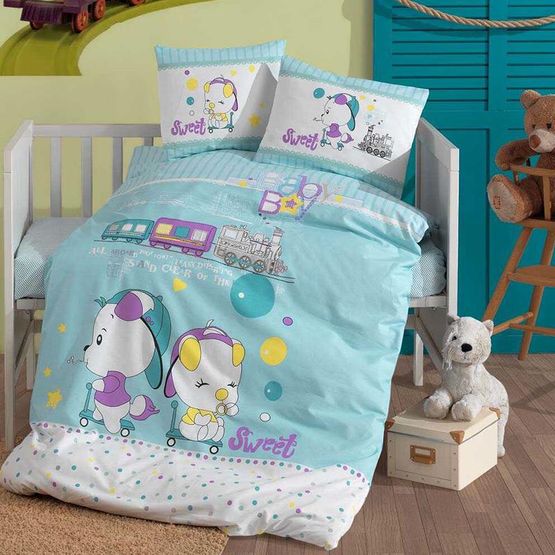 Σεντόνια Κούνιας (Σετ) 110×150 Sb Home Baby Boys Μπλε Χωρίς Λάστιχο